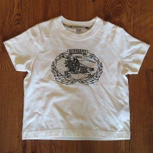 KIDS BURBERRY WHITE/BLACK VINTAGE T-SHIRT SZ: 5Y *